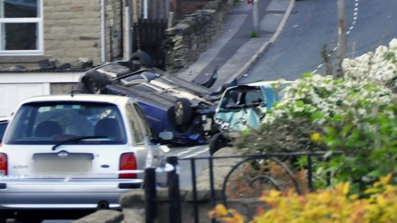 Accident involving two cars last night in Batley