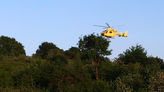 The Yorkshire Air Ambulance at last night's accident in Batley