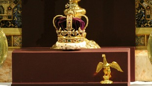 St Edward's Crown is displayed during the service