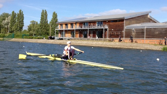 An athlete practices sculling at Eton Dorney in Berkshire