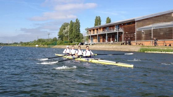 The men's coxless fours at the Redgrave Pinsent Rowing Lake at Caversham