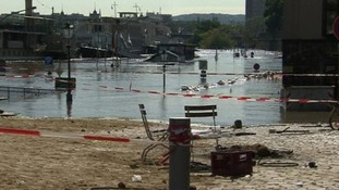 Dresden's historic Schlossplatz square is largely underwater