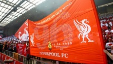 Liverpool flag bearing the names of the 96 victims