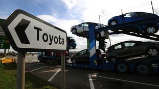 Toyota cars leaving Toyota's main UK plant in Burnaston, Derbyshire.