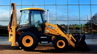JCB backhoe loader at the JCB World Headquarters in Rocester, Staffordshire.