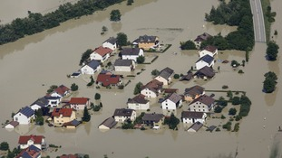 Village engulfed in floodwaters from the river Danube near the eastern city of Deggendorf