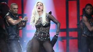 Lady Gaga performing.