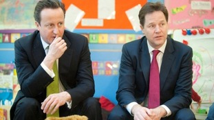 Prime Minister David Cameron and Deputy Prime Minister Nick Clegg pictured at a nursery in March.