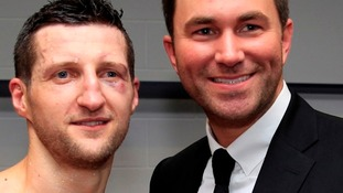 Froch and Hearn following The Cobra's win over Mikkel Kessler at the O2 Arena on May 25