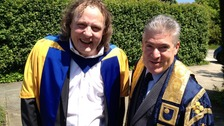 MK Dons' chairman Pete Winkelman with Open University Vice Chancellor Martin Bean