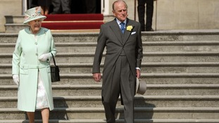 Queen and the Duke of Edinburgh at Buckingham Palace today