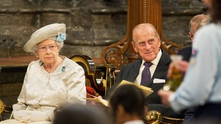 Queen and Duke of Edinburgh at Westminster Abbey