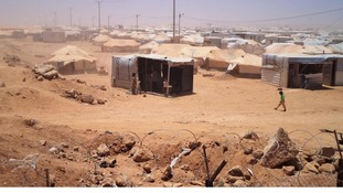 Zaatari refugee camp in Jordan - home to 120,000 Syrian refugees