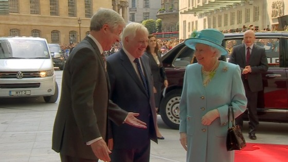 The Queen speaks to BBC Trust chairman Lord Patten and BBC Director General Lord Hall.