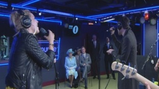 The Queen watchesThe Script perform at BBC's New Broadcasting House.