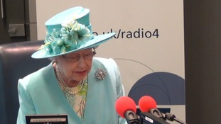 The Queen speaks on BBC Radio 4 from its new studio.