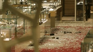 The scene of a smash and grab robbery in Selfridges, Oxford Street, London