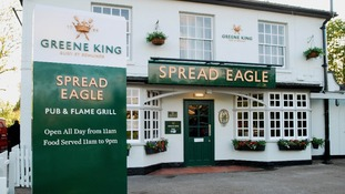 Greene King new pub sign for the Spread Eagle
