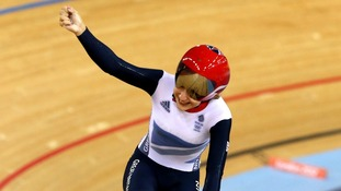 Great Britain's Laura Trott celebrates winning the gold medal in the Women's Omnium