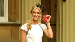 Cyclist Laura Trott after receiving her OBE medal
