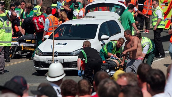 Paramedics treat injured spectators at TT