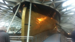 The Cutty Sark's golden hull