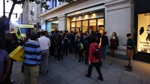 A crowd at the scene of a smash and grab robbery in Selfridges last Thursday