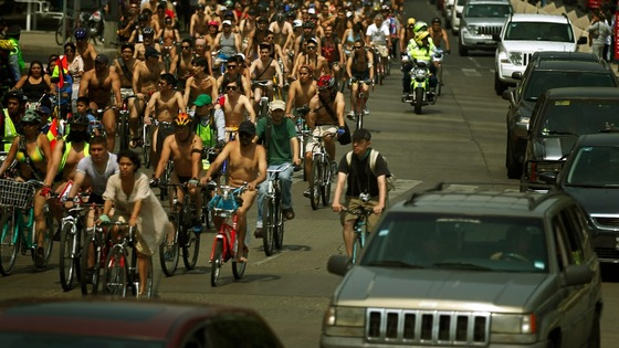 Thousands of naked cyclists took to the streets in Mexico City and Guadalajara