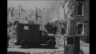 B/W photo of bomb damage in Bath