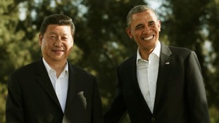 Barack Obama meets Chinese President Xi Jinping at The Annenberg Retreat.