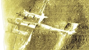 Underwater side scan of a twin-engined Dornier 17 German bomber discovered on a sandbank off Dea