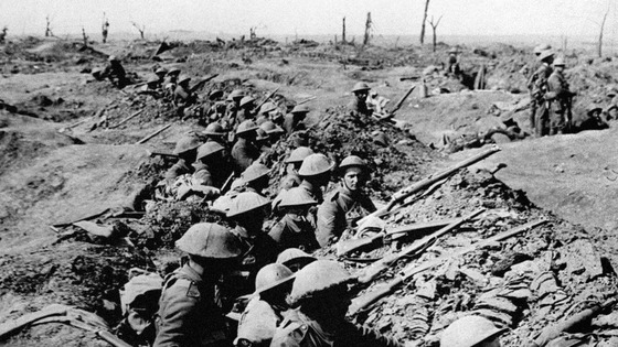 Undated file photo of British infantrymen occupying a shallow trench during the Battle of the Somme.