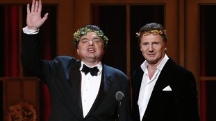 Oliver Platt and Liam Neeson present during the American Theatre Wing's annual Tony Awards.