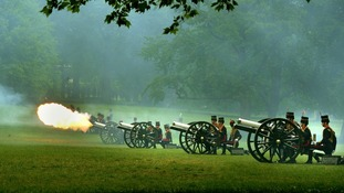 There was a noon salute by the King's Troop Royal Horse Artillery