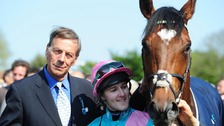 Sir Henry Cecil with jockey Tom Queally and horse Frankel