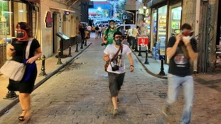 Istanbul residents wearing gas masks