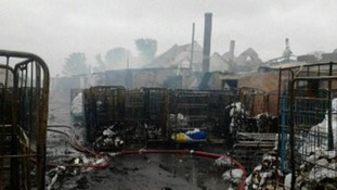 The commercial premises has been badly damaged by fire