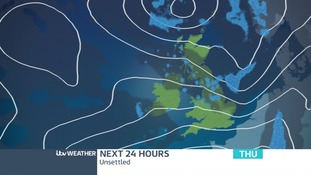 Pressure chart Thursday showing low pressure to the south-west pushing wet and windy weather our way.