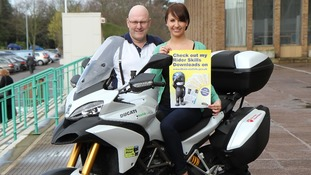 Cara Zagni with Andy Micklethwaite, Norfolk County Council's Road Safety Officer for Motorcycles