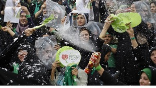 Supporters of Iran's opposition candidate Mir Hossein Mousavi at a rally in Tehran in June 2009