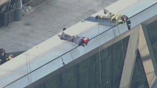 Emergency service workers on the roof of the Hearst Tower