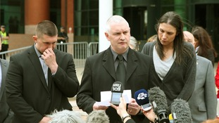 Bryn Hughes, father of Nicola Hughes, reading a statement outside Preston Crown Court