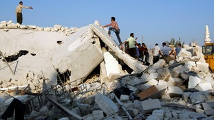 House destroyed by an air strike in Azaz