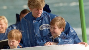 Prince William, Princess Diana and Prince Harry pictured at Niagara Falls in 1991.