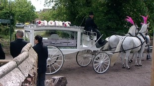 Fiona Anderson's coffin arrives at Oulton Church near Lowestoft