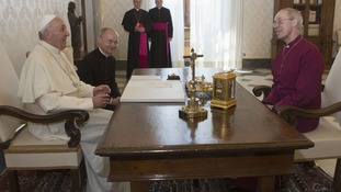 Pope Francis meets the Archbishop of Canterbury Justin Welby at the Vatican