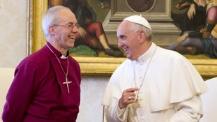 Pope Francis talks with the Archbishop of Canterbury Justin Welby