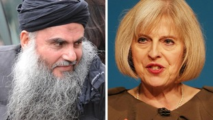 File photos of Abu Qatada and Home Secretary Theresa May.