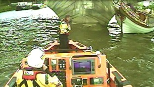 The barge collided with Kew road bridge late yesterday afternoon.