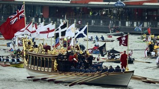 The barge led the Diamond Jubilee pageant down the Thames last year